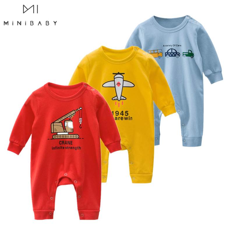 Cheap Spring Autumn Baby Clothing Newborn Soft Rompers For Boys Baby Cartoon Costumes Pajamas 0-24m Infant Jumpsuit Kids Outfits