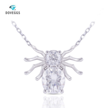 Moissanite Necklace Spider-Pendant Sterling Silver Women Solid Oval Doveggs for Bestie