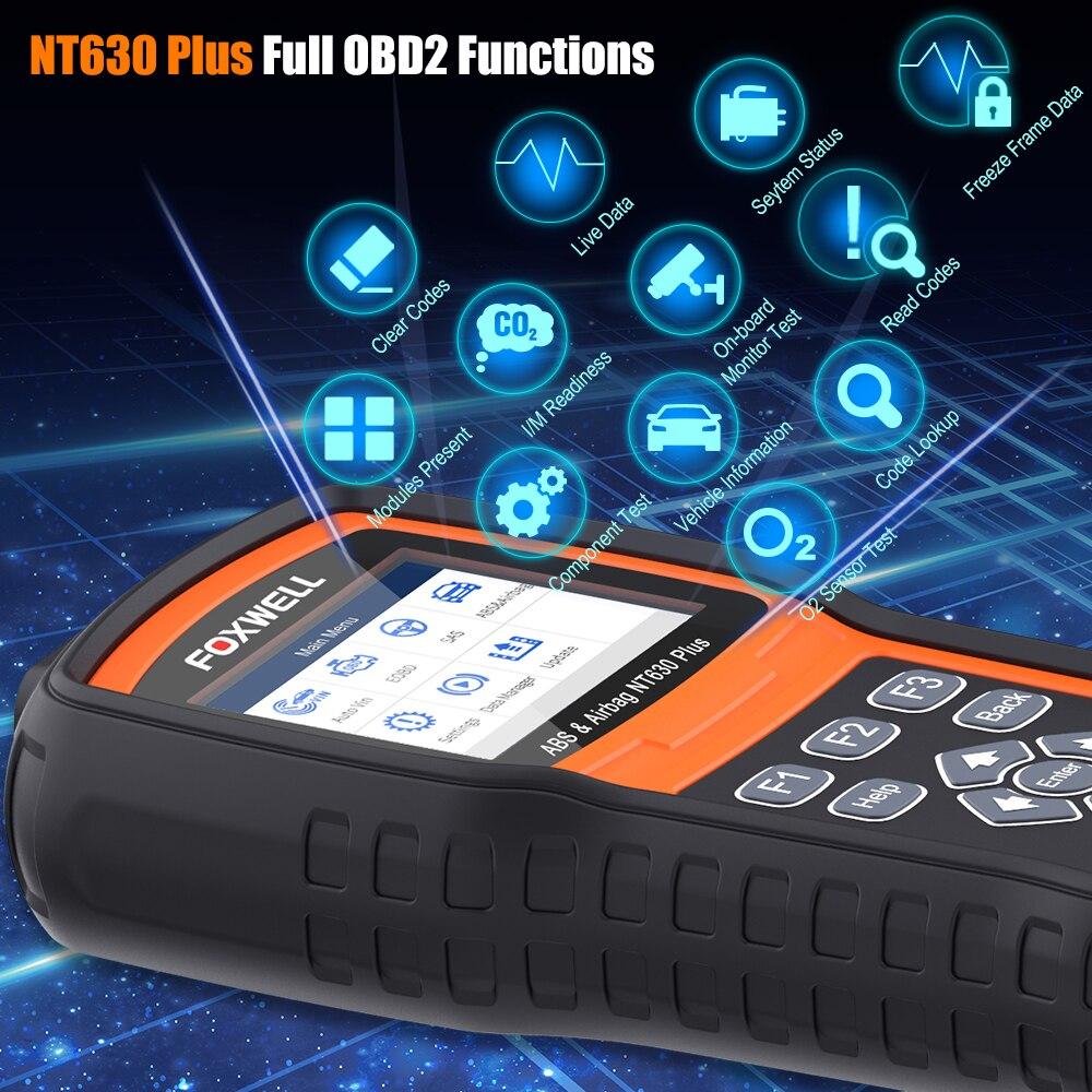 Foxwell NT630 Plus OBD2 narzędzie diagnostyczne do samochodów ABS krwawienie Airbag Reset SAS kalibracja czytnik kodów ODB2 skaner samochodowy OBD2