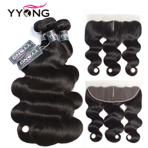 Image 1 - YYong 13x4 Lace Frontal With Bundles Peruvian Body Wave 3 Bundles With Frontal Remy Human Hair With Frontal Closure Cheuveux