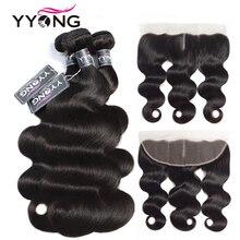 YYong 13x4 koronkowy Frontal z wiązkami peruwiański ciało fala 3 wiązki z przednim Remy ludzki włos z przednim zamknięciem Cheuveux