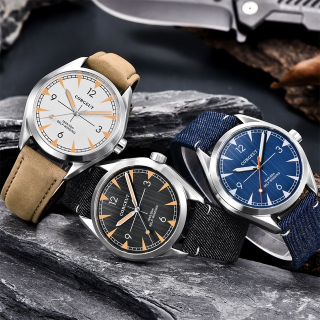 Men Corgeut Automatic Mechanical Watch Luxury Fashion Casual Brand Leather Man waterproof sport male Watches relogio masculino