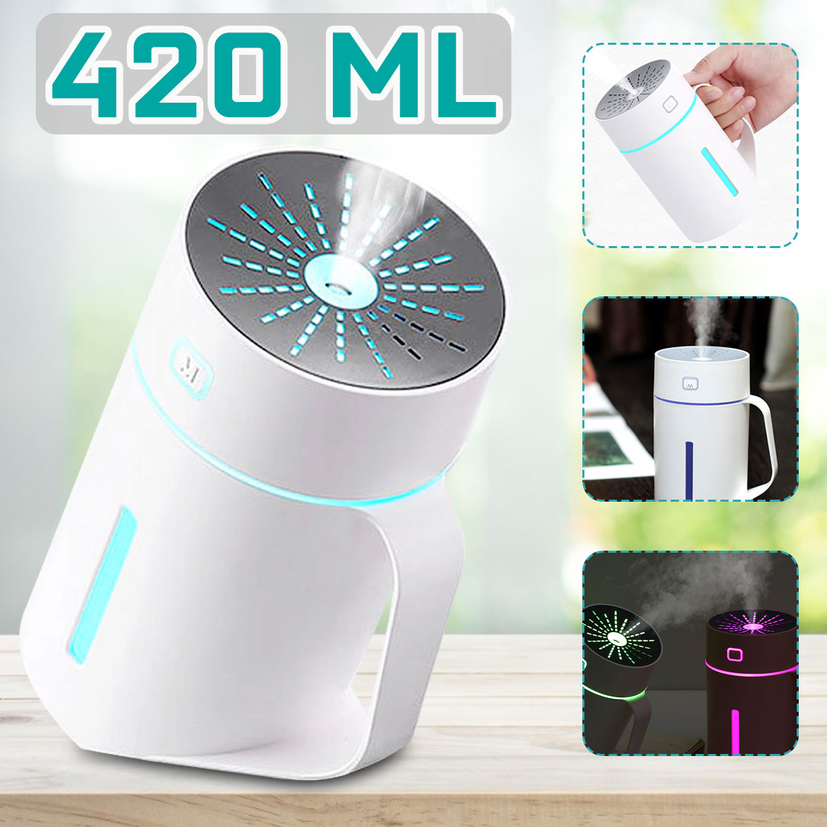 420ML Portable Mini 7 Color LED Air Humidifier Diffuser USB Battery Wired Wireless Humidifier Night Light For Home Office Gifts