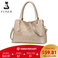 FOXER Authentic Women's Cow Split Leather Handbag Fashion Lady Tote Purse Luxury Shoulder Bag for Women