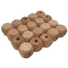 1. 2 см перфорированные строительные блоки кубики строительные блоки деревянный шарик Младенческая игрушка для прорезывания зубов аксессуары Строительные блоки DIY фаска кости