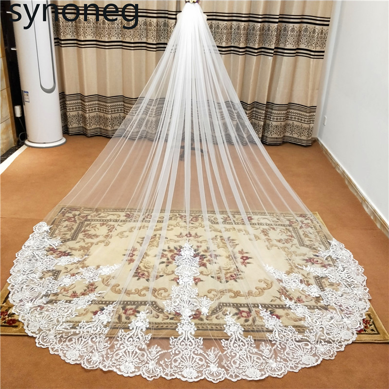 2019new Hot White/Ivory Beautiful Cathedral Length Lace Edge Wedding Veil With Comb Long Bridal Veil Mariage Plus Size