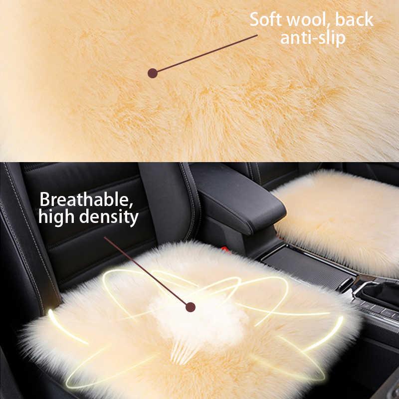 毛皮自動車シートカバーユニバーサル席クッションウール冬自動シートカバー椅子保護自動アクセサリー