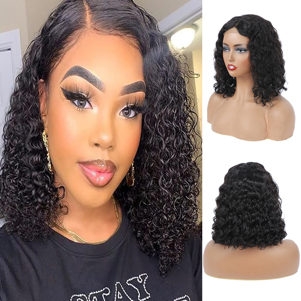 lace front human hair wigs for Black Women deep wave curly hd frontal bob wig brazilian afro short  water wig 4*4 1