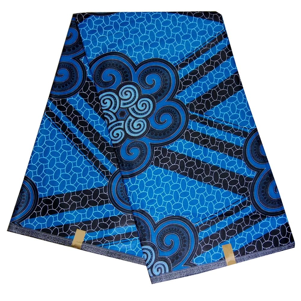 African Real Wax Prints Blue Africain Fabric 6 Yards/Piece Ankara Nigerian Wax For Wedding Dress