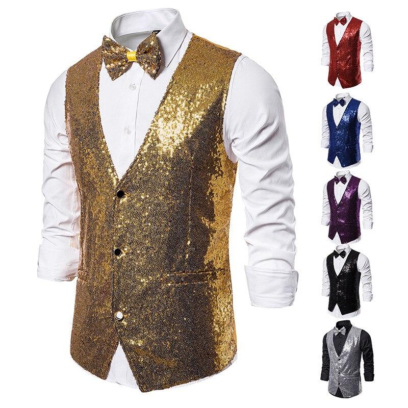 Shiny Sequins Gold Vest Men Glitter Bowtie Vests Colete Waistcoat Mens Wedding Party Nightclub DJ Stage Gilet Suit Vest Hombre