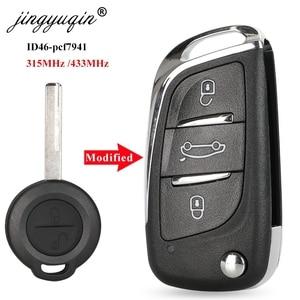 Jingyuqin 315/433mhz id46 remate chave para mercedes benz inteligente 454 forfour atualização flip chave fob 2 botão apto mitsubishi colt