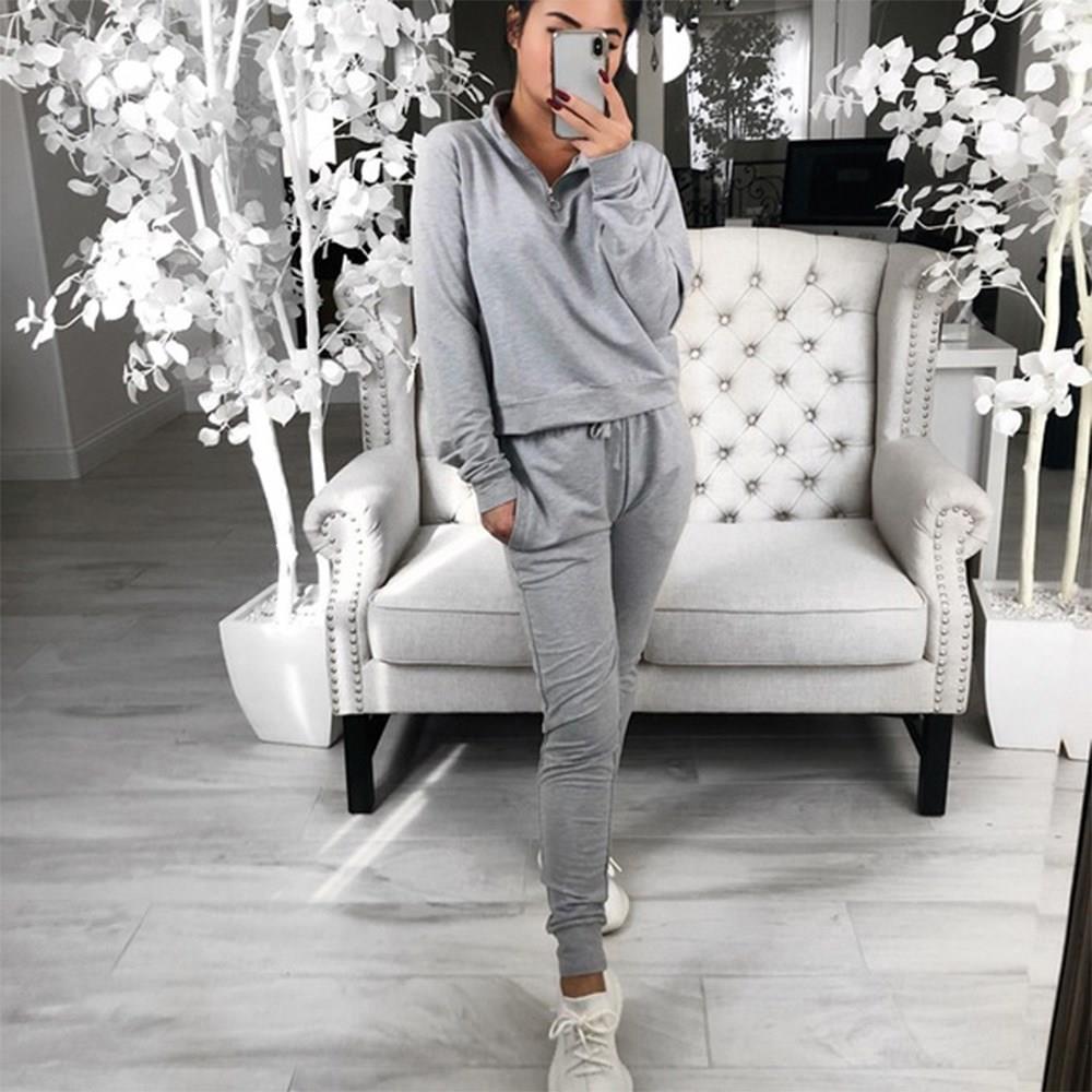 Women Tracksuit Set Pure Color Lounge Wear 2 Piece Sets Casual Outfits Zipper Shirt Drawstring Long Pants