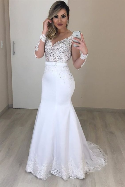 Sheer Long Sleeves Mermaid Wedding Dresses See Through Back Custom Two Pieces Bridal Gowns Modest Vestidos De Novia 3