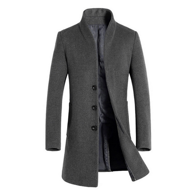 PUIMENTIUA 2019 Men Wool Thicken Coat Stand Collar Autumn Winter Woolen Solid Color Single Breasted Long Trench Men Blends