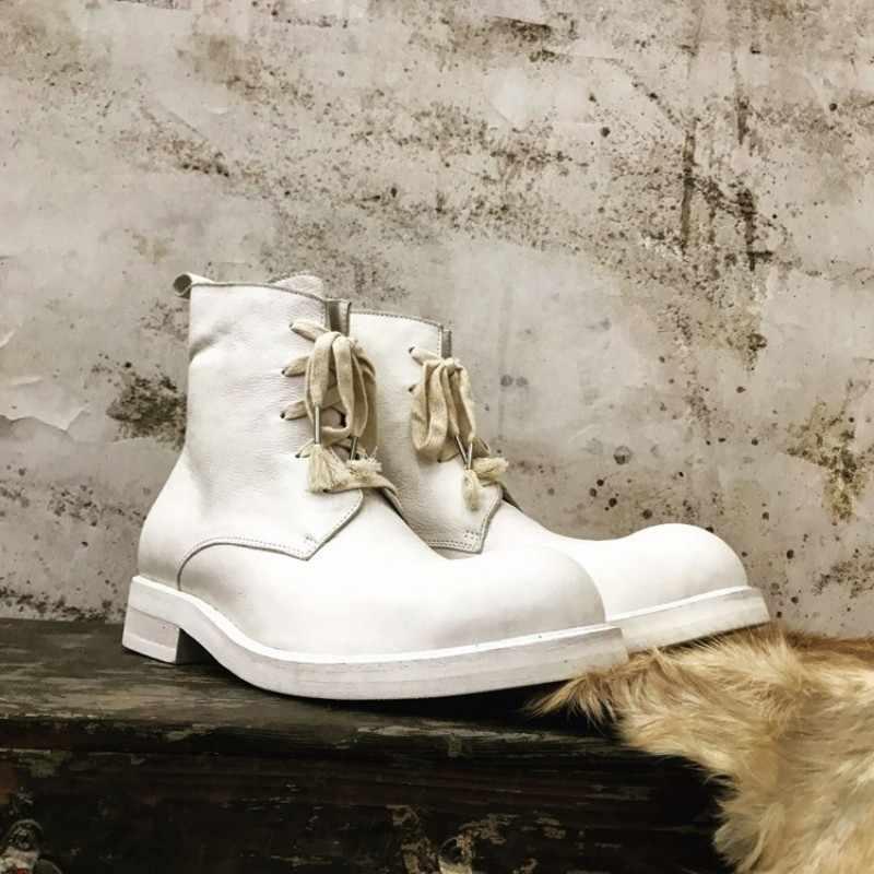 Botas de tobillo con cordones Vintage hechas a mano para hombre, zapatillas de plataforma altas de invierno, zapatos de trabajo de cuero genuino clásico, botas de motocicleta
