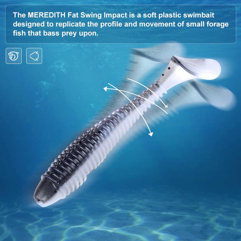 MEREDITH Swing Impact FATเหยื่อตกปลา 75 มม.85 มม.180mm Paddle TAIL Lures Wobblerตกปลาล่อซิลิโคนเหยื่อ