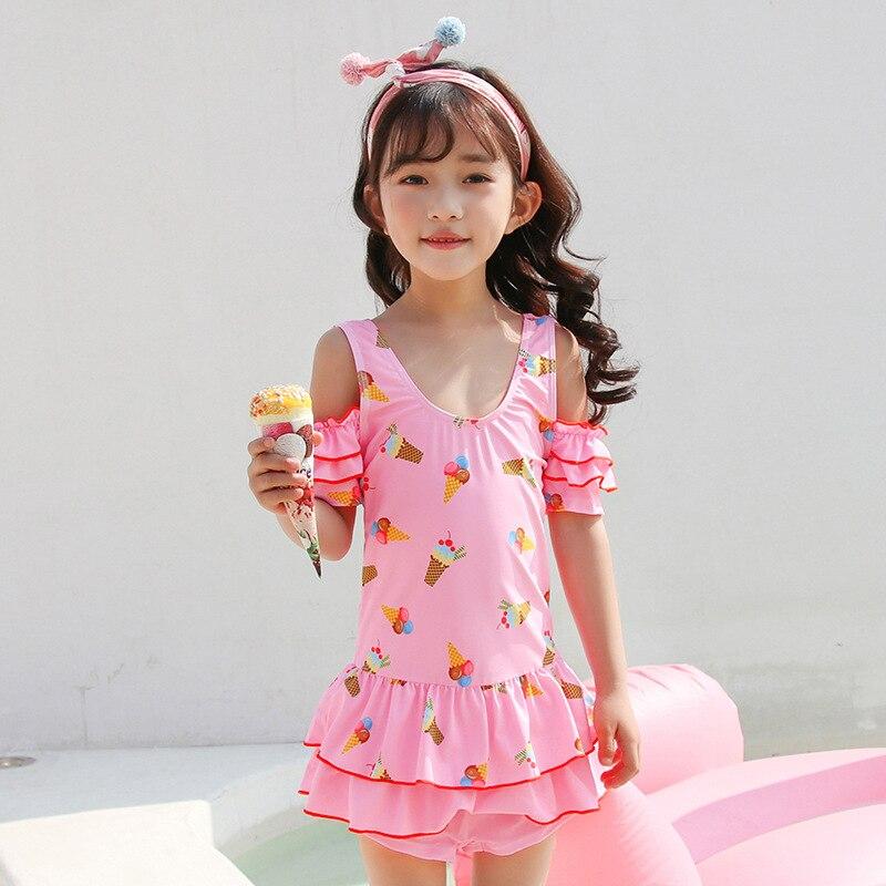 2019 New Style Photo Shoot Details Cute Children Dress-Flounced Bathing Suit Girls Zhong Da Diantong Beach Swimwear