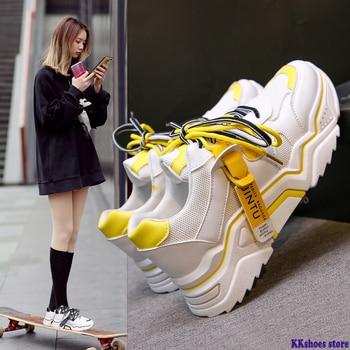 2020 Women's Chunky Sneakers Fashion Women Platform Shoes Lace Up Vulcanize Shoes Womens Female Trainers Dad Shoes 89 new women platform chunky sneakers lace up casual vulcanize shoes designer dad female fashion sneakers 2019 women shoes