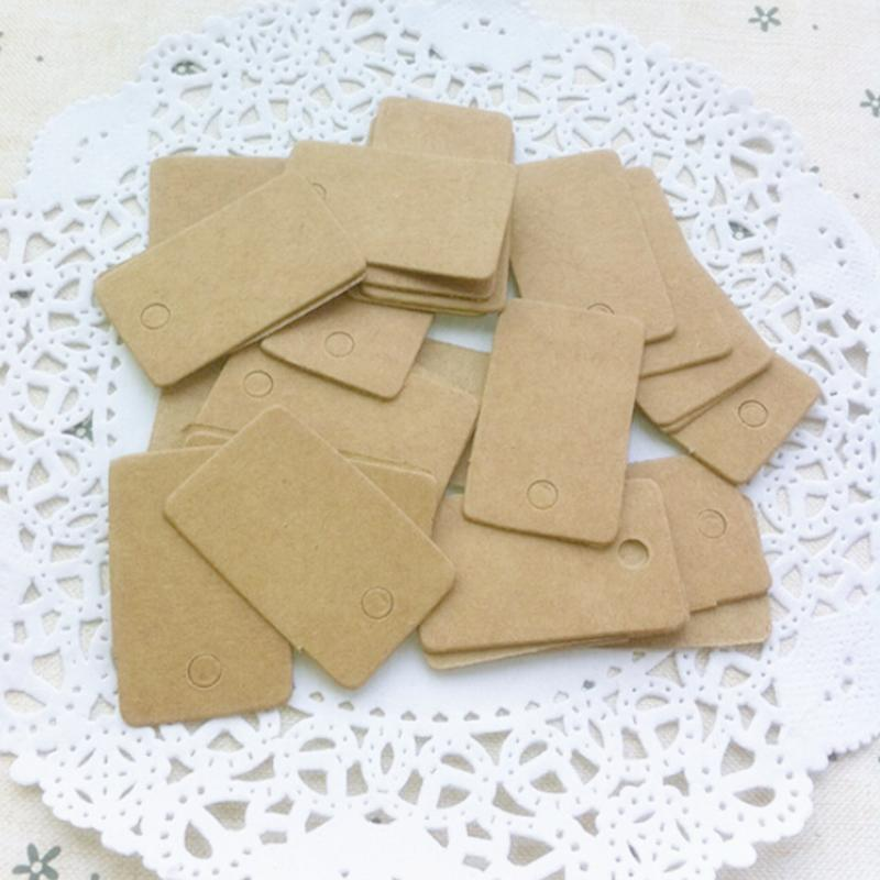 100Pcs/bag  Retro Blank Kraft Paper Ear Studs Card Hang Tag Jewelry Display Earring Cards Cardboard Accessories