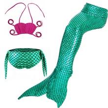 Girl Dress Up Mermaid Swimsuit Mermaid Tail Outfit Set 2020 Summer Beach Casual Summer Party Costume Mermaid Bikini 3-12 Years