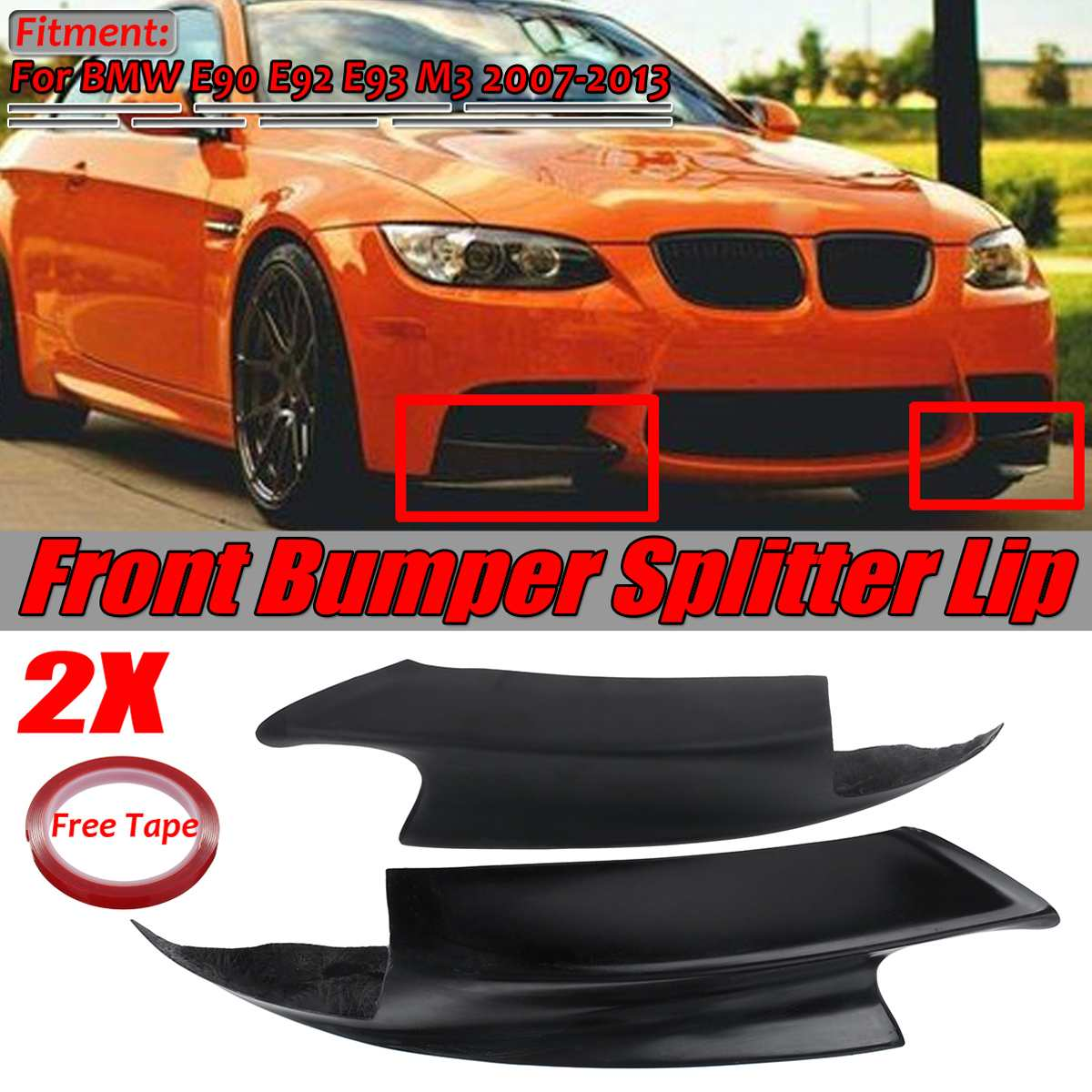 1 Pair E90 <font><b>E92</b></font> <font><b>Bumper</b></font> Lip <font><b>E92</b></font> E93 Car Front <font><b>Bumper</b></font> Lip Splitter Spoiler Diffuser Gurad Cover For BMW E90 <font><b>E92</b></font> E93 M3 2007-2013 image
