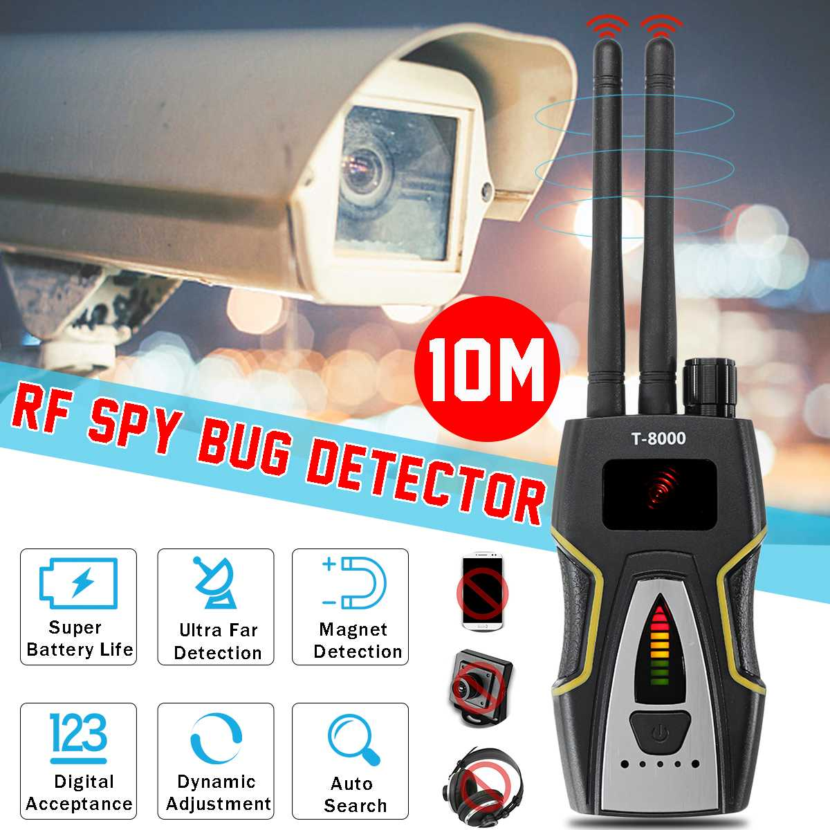 T8000 Pro Security RF Bug Anti Candid Camera Signal Detector Frequency Scanner GPS Wireless Tracker For Outdoor Business Safety