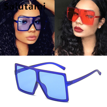 colorful oversize square frame sunglasses for women 2019 fashion men vintage retro blue red sun glasses ladies leopard shades