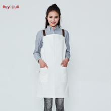 White denim apron restaurant kitchen bib chef and manicure coveralls washed blue