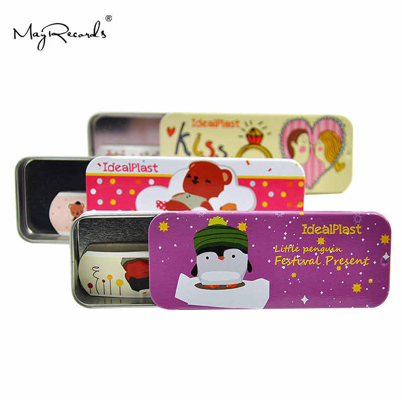 Free Shipping 45 PCs/3Boxes Cute Tin box Childrens Kids Novelty Funny cartoon Bandage Kids First Aid Hemostasis Band aid lovely