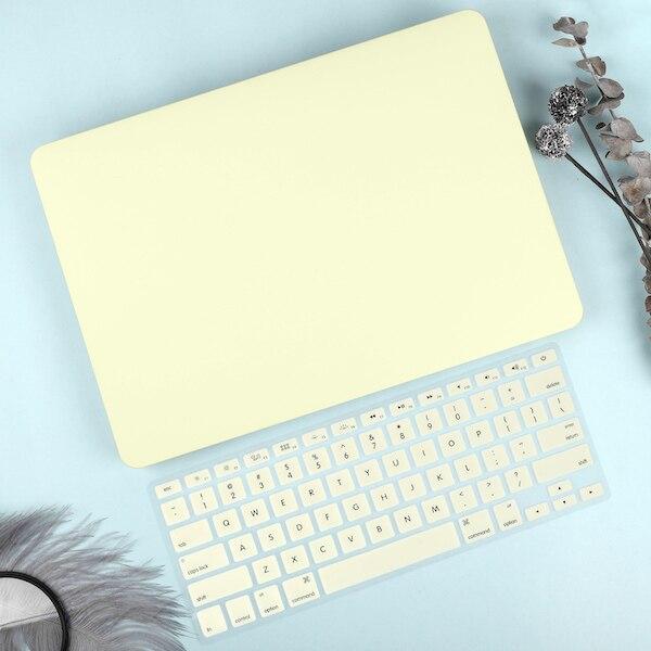 Чехол для ноутбука 4 в 1 для MacBook Air 11, 13 дюймов и Pro retina 13,3, 15,,,, кристально Матовый Жесткий чехол для клавиатуры - Цвет: Mellow Yellow