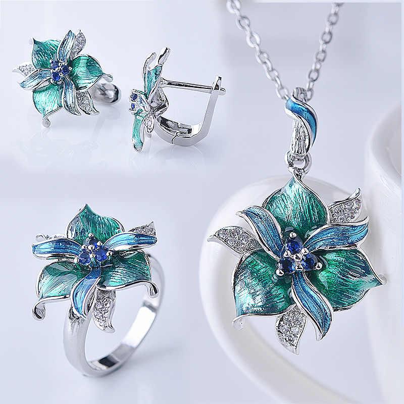 Vintage Emaille Bloem Ring & Ketting Sieraden Sets Epoxy Ambachten Mode Vrouwen Sieraden voor Party Geschenken Groothandel