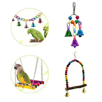 4 Pcs/Set Swing Toys Colorful Swing With Parrot Bells Connection Decorative Accessories Small Parakeet Cages Bird Supplies Toy 4