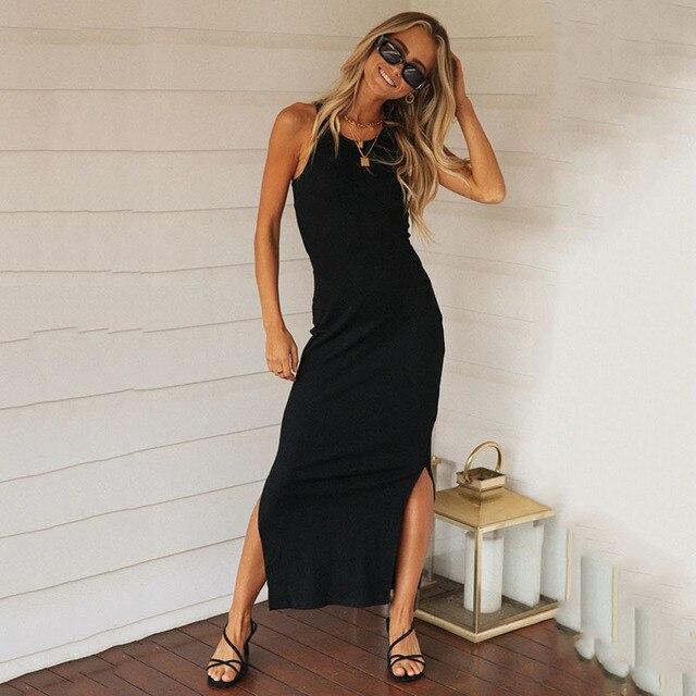 2020 New Fashion Solid Summer Dress Women Sexy Sleeveless Side Split Long Pencil Dress Slim Elegant Tank Maxi Vestido Robe Femme 6