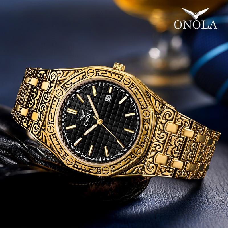 ONOLA Vintage Carved Watch Man Waterproof Creative Steel Band Wristwatch Fashion Business Designer Luxury Brand Gold Mens Watch
