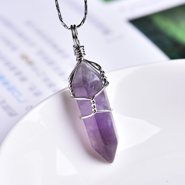 1PC Natural Crystal Rose Quartz Amethyst Pendant Magic Repair Healing Crystal Jewelry Couple Decorating Christmas and DIY Gifts 2