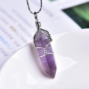 1 шт., натуральный кристалл, розовый кварц, аметист, подвеска, магический ремонт, целебный кристалл, ювелирное изделие, украшение для пары, подарки на Рождество и сделай сам