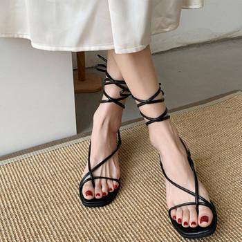Kobieta kostki sandały z paskami masywne obcasy zasznurować klip Toe buty damskie wąskie paski krzyżowe wiązanie panie Roman 2021 Summer Fashion tanie i dobre opinie LLYGE CN (pochodzenie) Med (3 cm-5 cm) 0-3 cm Party Stabilizator na kostkę Kwadratowy obcas Otwarta RUBBER Sznurowane Dobrze pasuje do rozmiaru wybierz swój normalny rozmiar