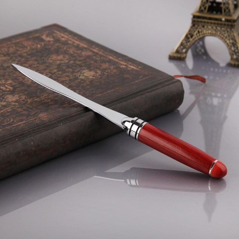 Wood Handle Letter Opener Stainless Steel Knife Split File Envelopes Stationery