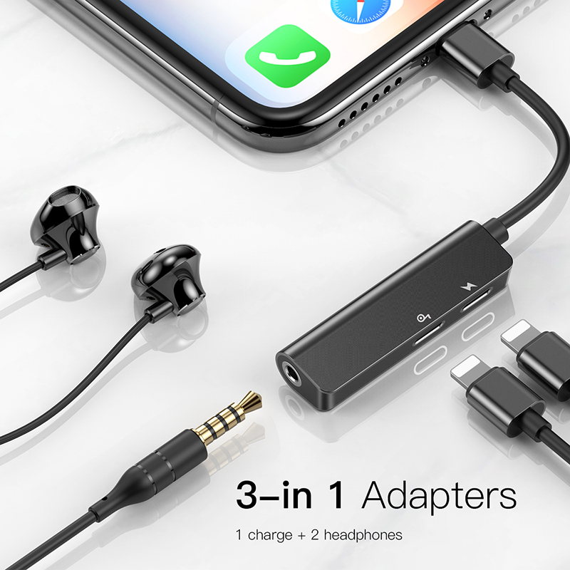 Baseus AUX Audio Adapter For Lightning To 3.5mm Jack Earphone Charging Splitter For IPhone 11 Pro XS Max Xr X 8 7 OTG Converter