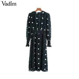 Image 2 - Vadim women elegant office wear midi dress long sleeve polka dots female casual elastic waist chic dresses vestidos QC931