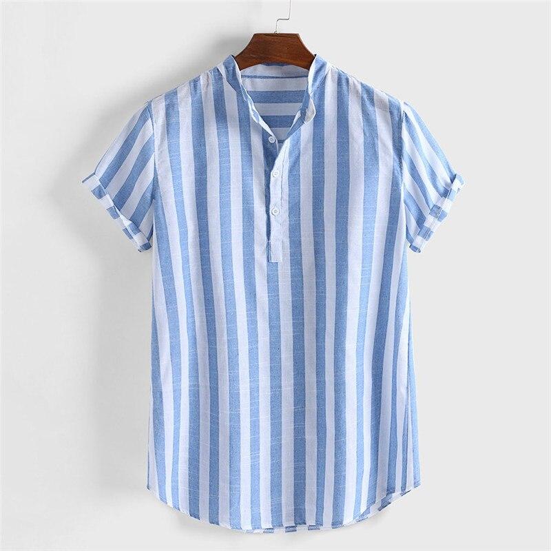 Men Plaid Slim Fit T-Shirt Short Sleeve Turn-down Collar Button Shirts L2S