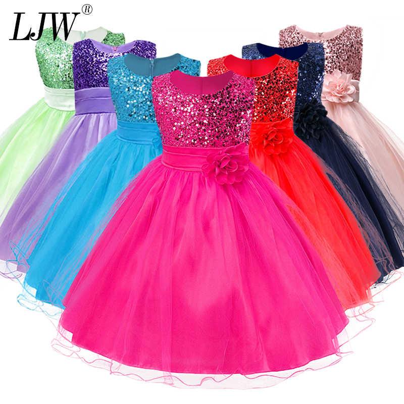3-14yrs מכירה לוהטת תינוק בנות פרח פאייטים שמלת מסיבת באיכות גבוהה נסיכת שמלת ילדי ילדי בגדי 9 צבעים