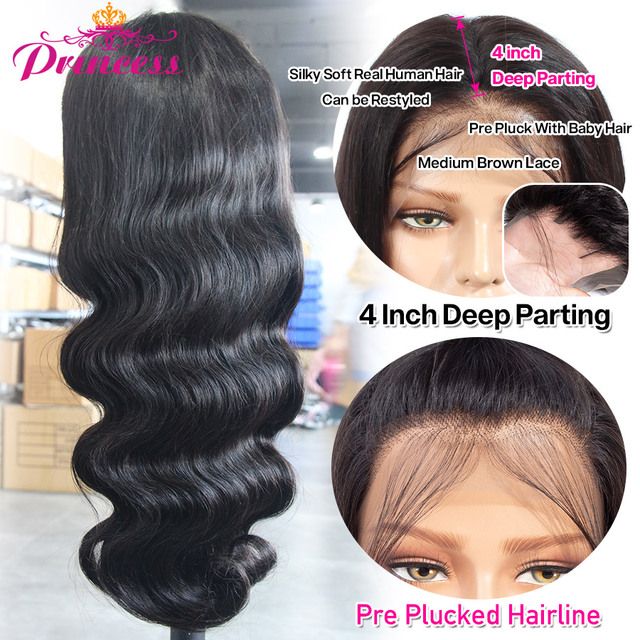 Hd perucas de cabelo humano frente do laço transparente pré arrancadas onda do corpo brasileiro peruca frontal do laço com cabelo do bebê remy pirncess cabelo 3