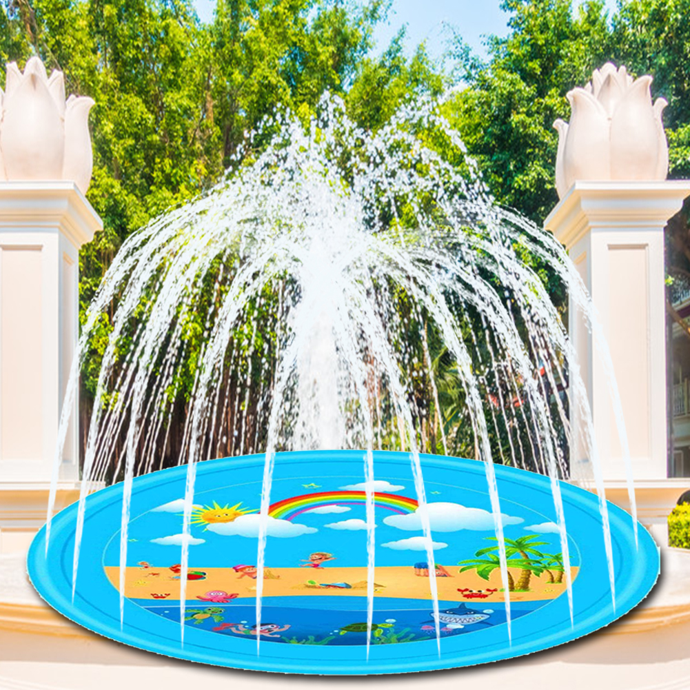 17M Inflatable Water Cushion Play Mat Summer Inflatable Sprinkler Play Mat Rainbow Splash Pad Kids Outdoor Spray Water Toys
