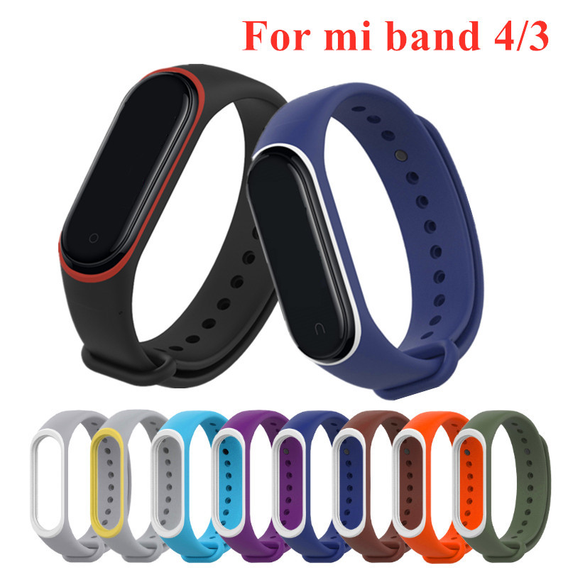 Mi Band 4 3 Strap Silicone Wrist Strap For Xiaomi Mi Band 3 4 Accessories Bracelet Miband 3 4 Replacement Dual Color Straps