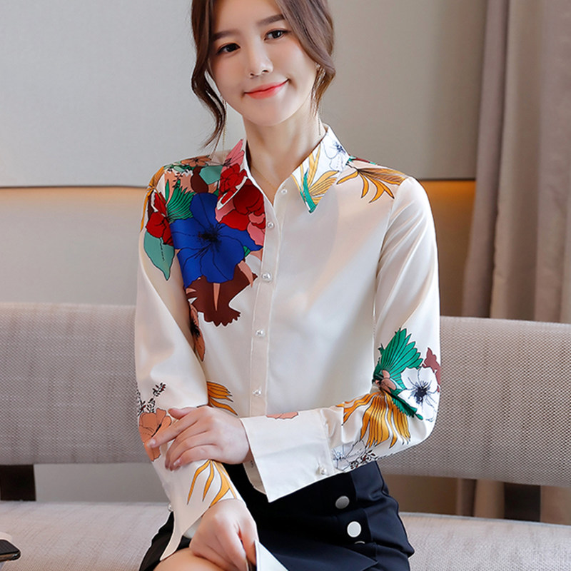 Korean Chiffon Women Shirts White Shirt Women Long Sleeve Shirts Woman Print Blouses OL Tops Plus Size Blusas Mujer De Moda 2020