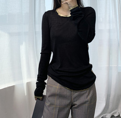 Frauen T-shirt Helle Farbe Bronzing Lange-ärmeln T-shirt Frauen