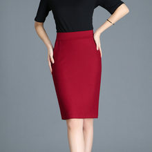 Women Autumn Formal Pencil Skirt Solid Black Red Stretch Bodycon Straight Womens Suit Skirt Casual OL Office Skirt Knee Length(China)