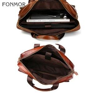 Image 5 - Fonmor Fashion sac messager pour ordinateur portable, fourre tout mallette en cuir, en cuir de vache, fourre tout Business, sacoche à main de bureau