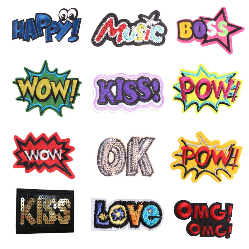 English Letters Patches Embroidery Iron On Patch Stripes Clothing DIY Stickers Sew On Clothes Denim Jacket Sequin Appliques F